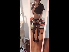 伪娘自慰 In front of a mirror for transvestites 小薰 masturbation ejaculation