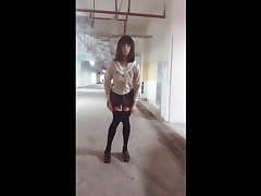 伪娘露出 Sexy transvestites 小薰 in the parking lot masturbation ejaculation