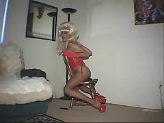 Blonde Shemale Riding On A Toy