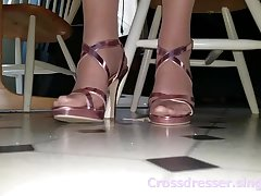 Crossdresser feet in pantyhose and heels